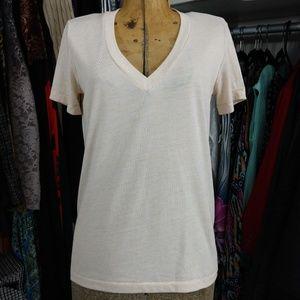 Madewell V Neck Polyester/Linen Blend Tee/Top/T-Sh